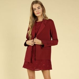 Red Pin Stripe Blazer